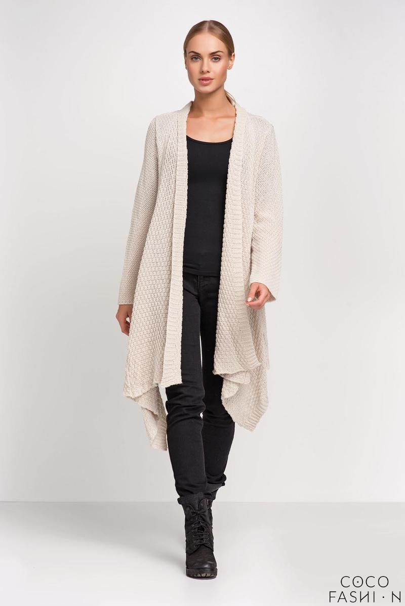 Beige Long Cardigan with Asymmetrical Lapels