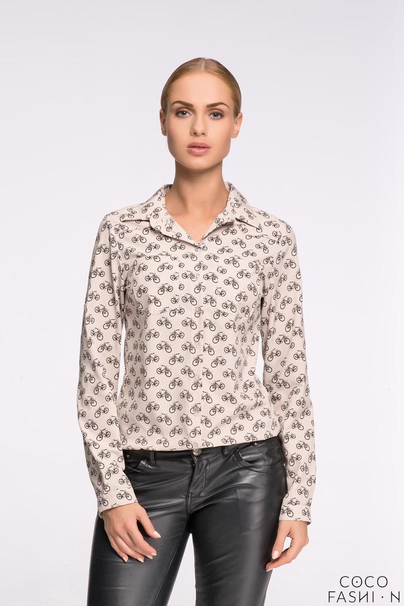 Beige Casual Ladies Shirt with Bikes Pattern