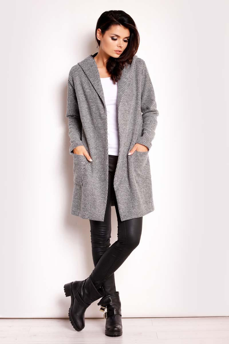 Grey Hooded No Buttons Coat