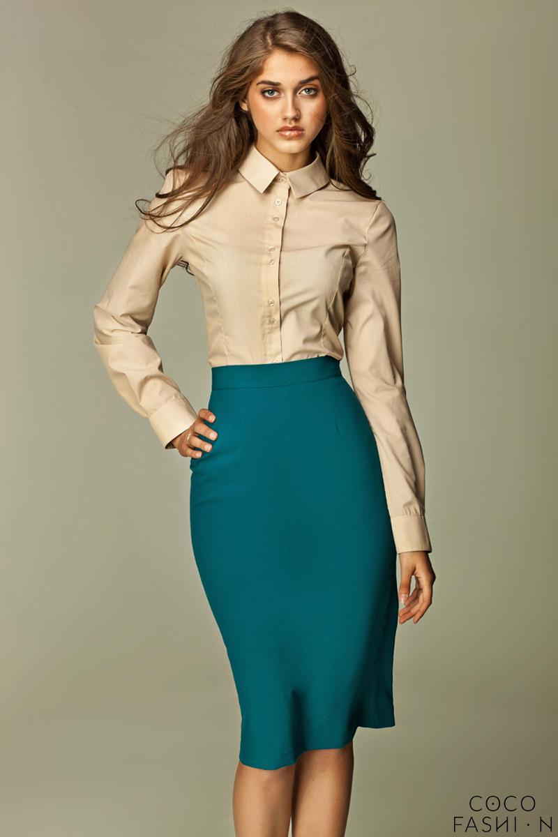 azure tea length pencil skirt