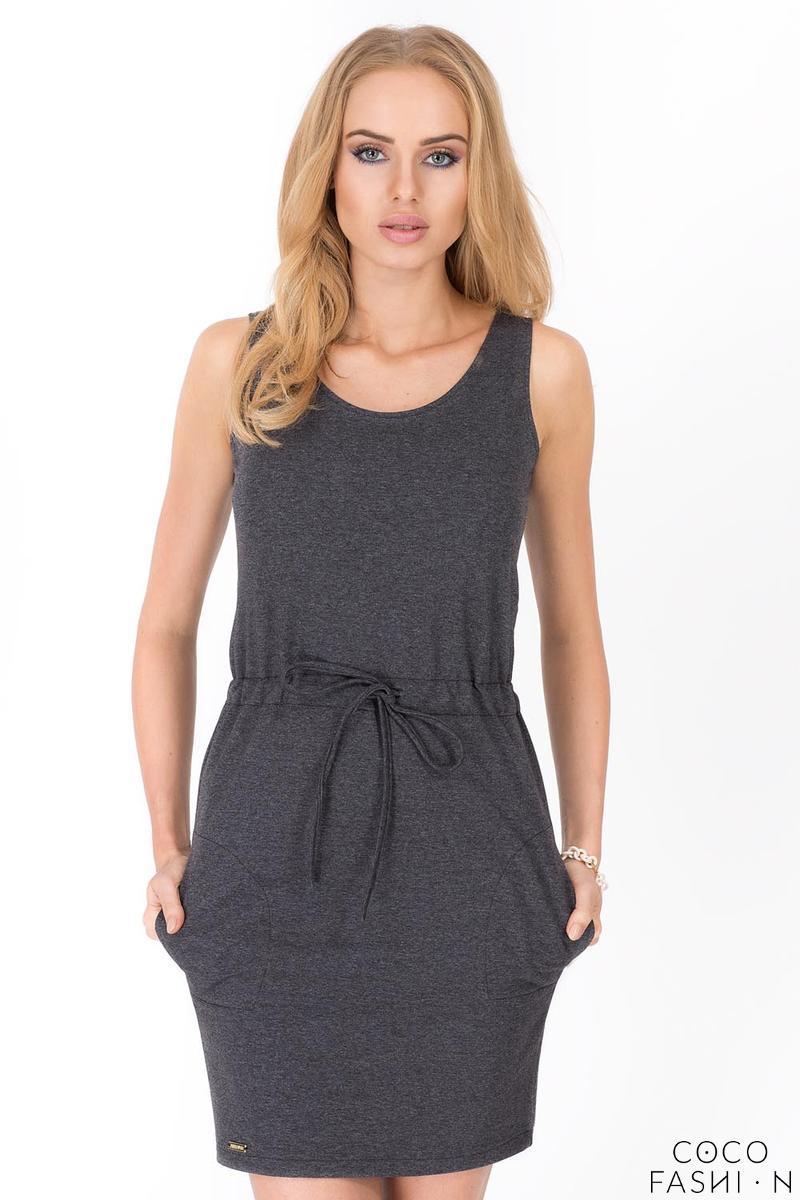Dark Grey Summer Style Side Pockets Drawstring Waist Mini Dress от cocofashion