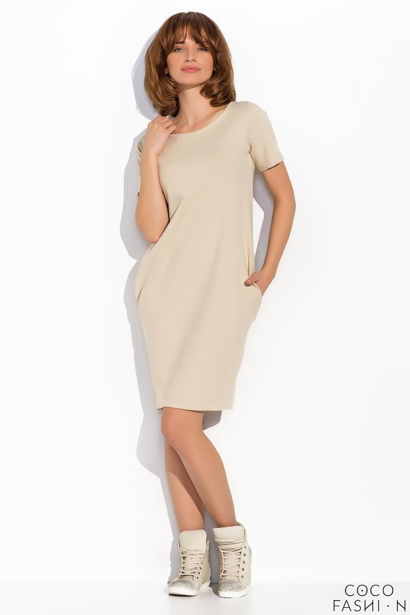 Beige Classic Casual Dress with Pockets
