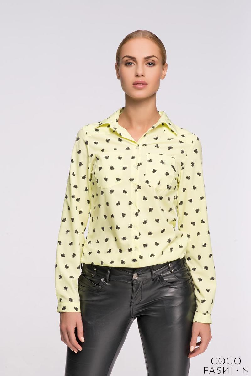 Yellow Casual Ladies Shirt with Hearts Pattern от cocofashion