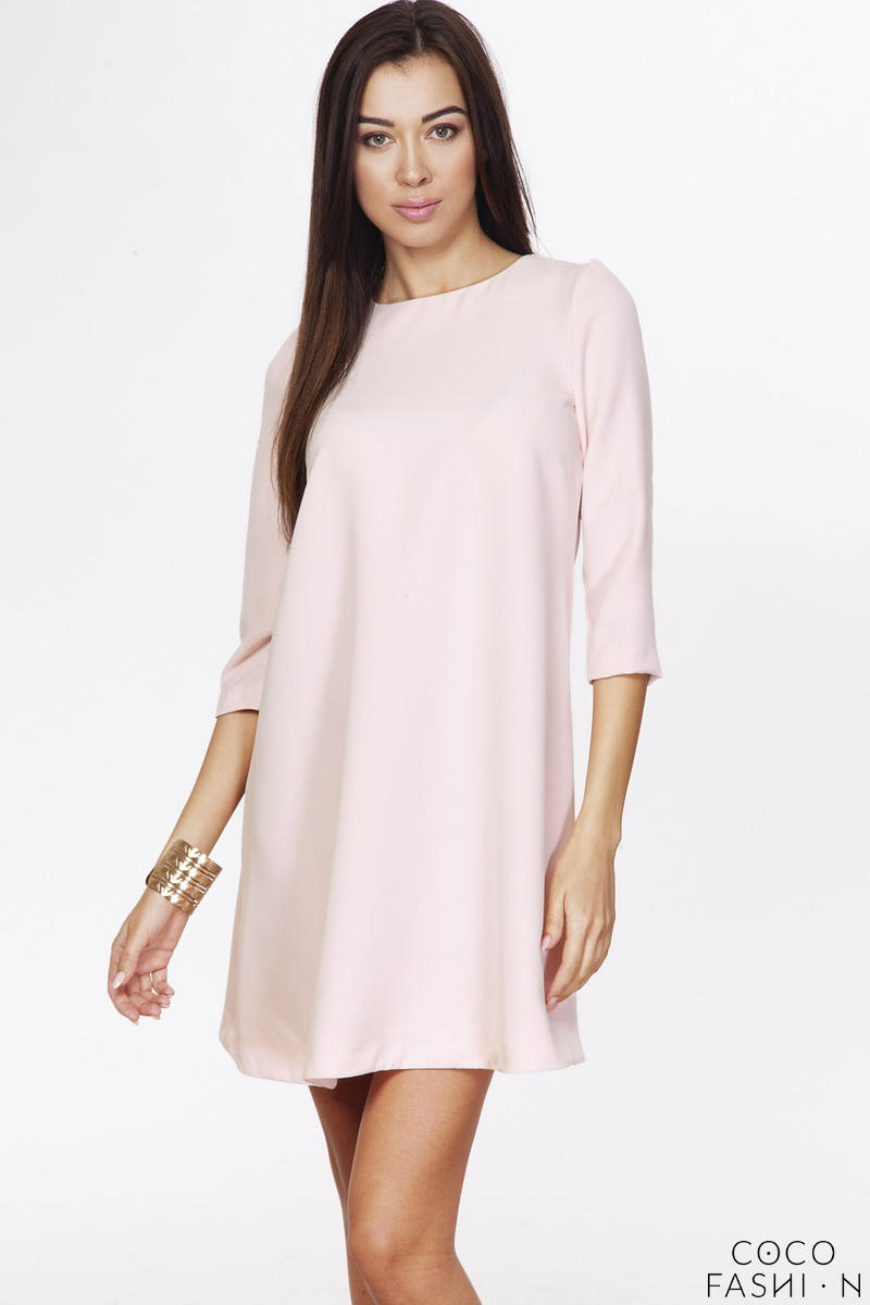 Pink Casual A-line 3/4 Sleeves Zipper Back Dress от cocofashion