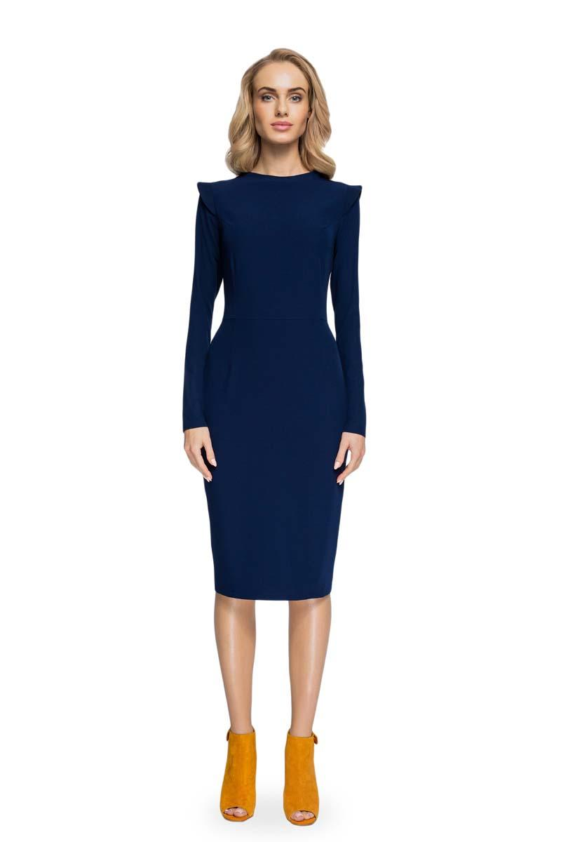 Navy Pencil Dress With Stand-up Collar
