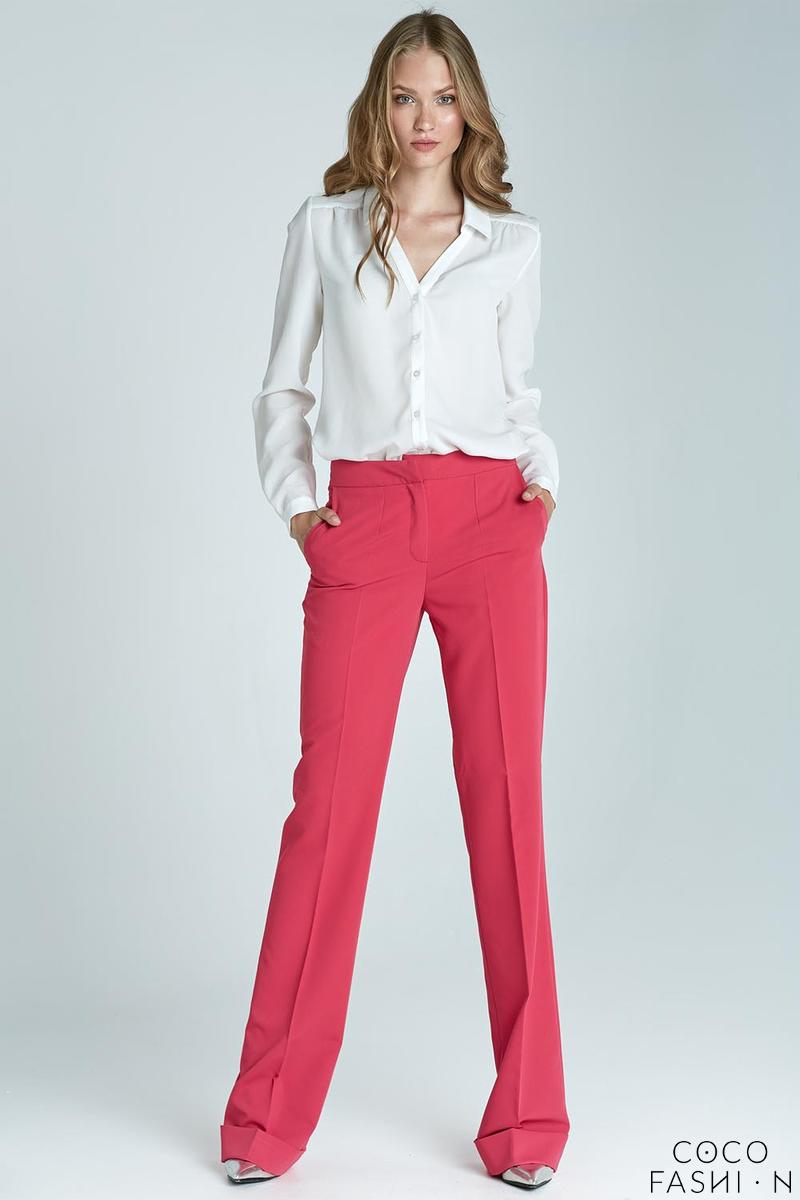 Pink High Waist Design Elegant Long Trousers