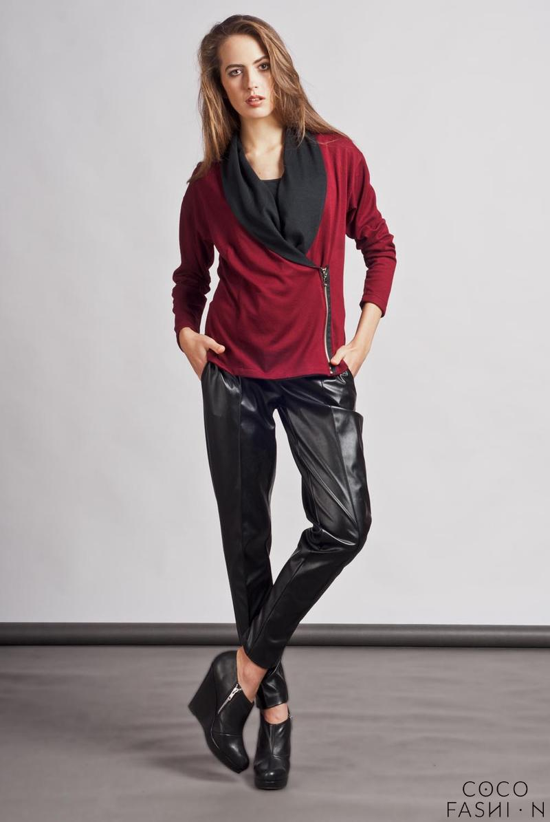 maroon-unique-big-collar-zipper-closure-cardigan