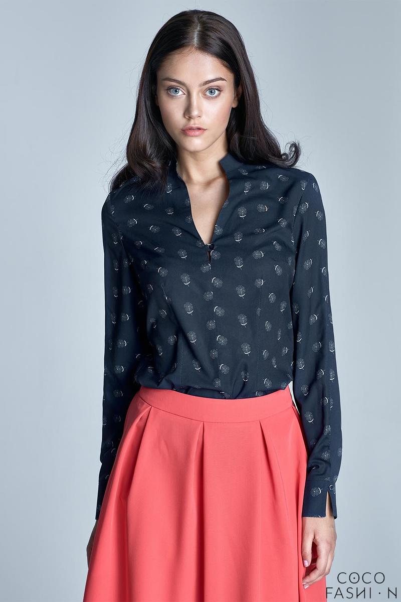 Dark Blue&White Stand-up Collar Long Sleeves Shirt