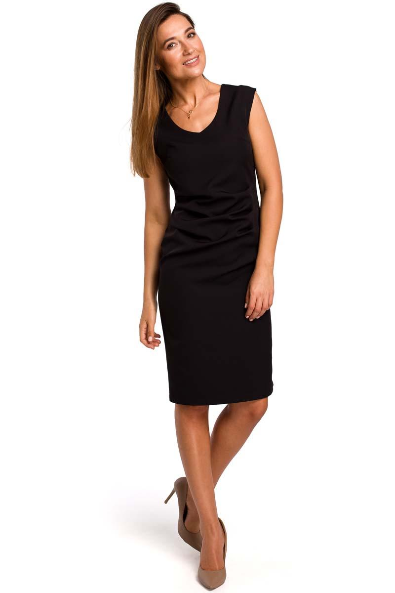 Black Fitted Sleeveless Dress with Draping Elements