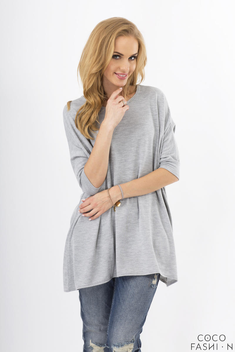 Grey Oversized Bat Sleeves Blouse