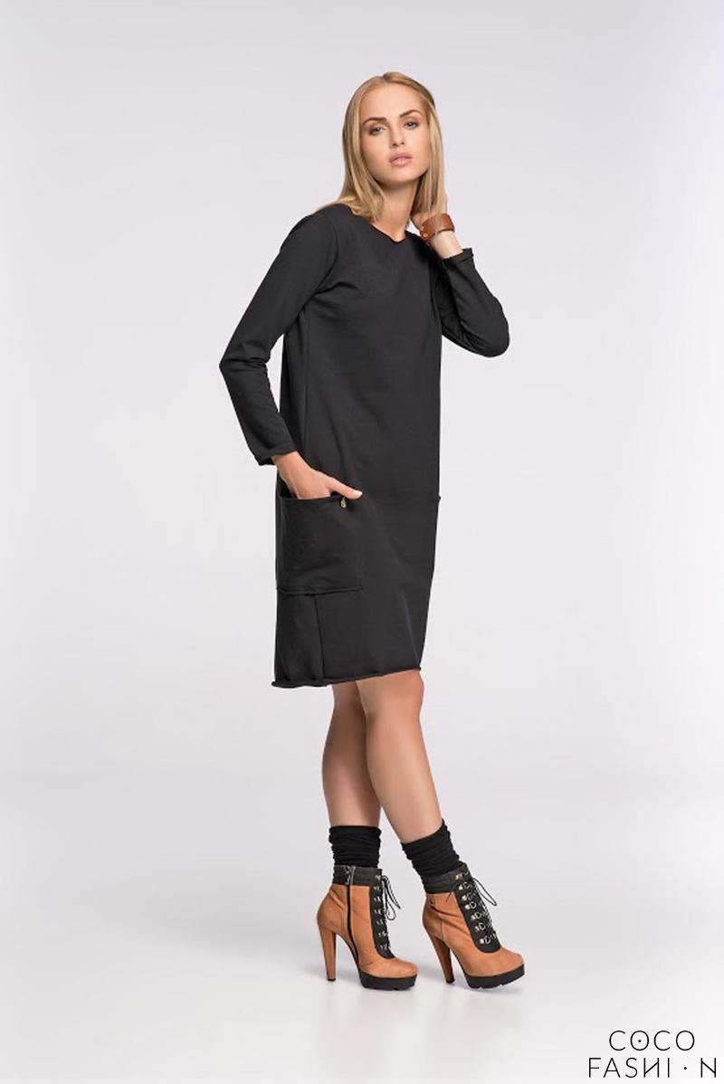 Black Asymetrical Casual Dress with Front Pockets