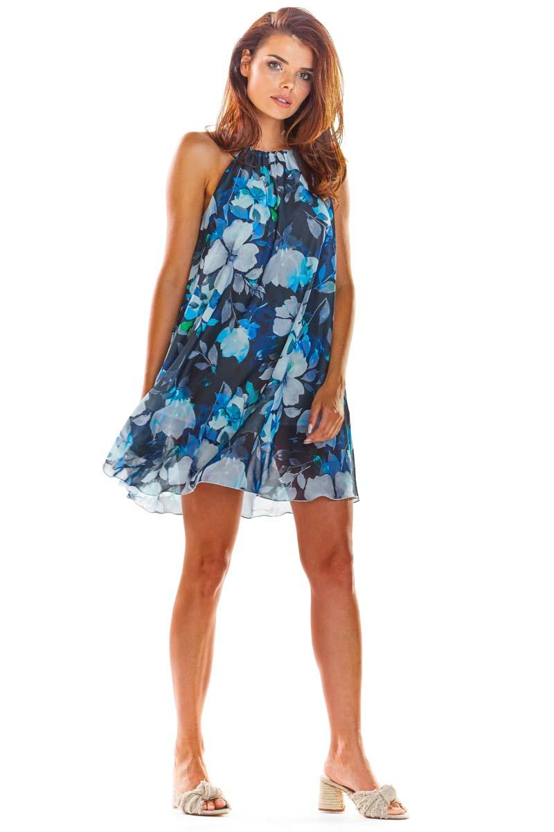 Nevy Blue Flowered Dress Summer Style