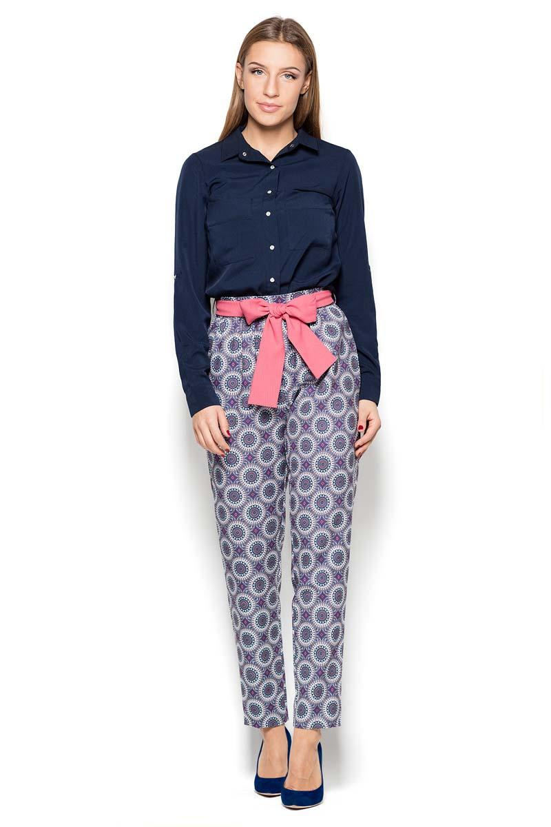 Patterned Cigarette Pants with a Bow