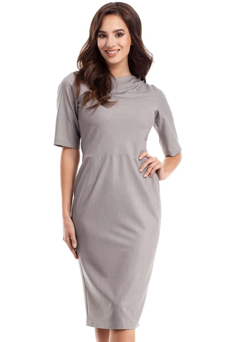 grey-simple-pencil-style-12-sleeves-dress