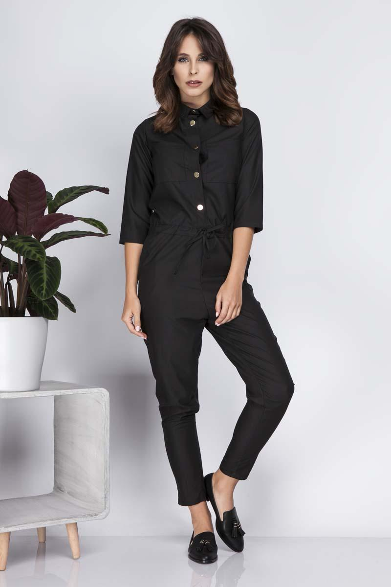 Black Casual Jumpsuit with Shirts Style Top