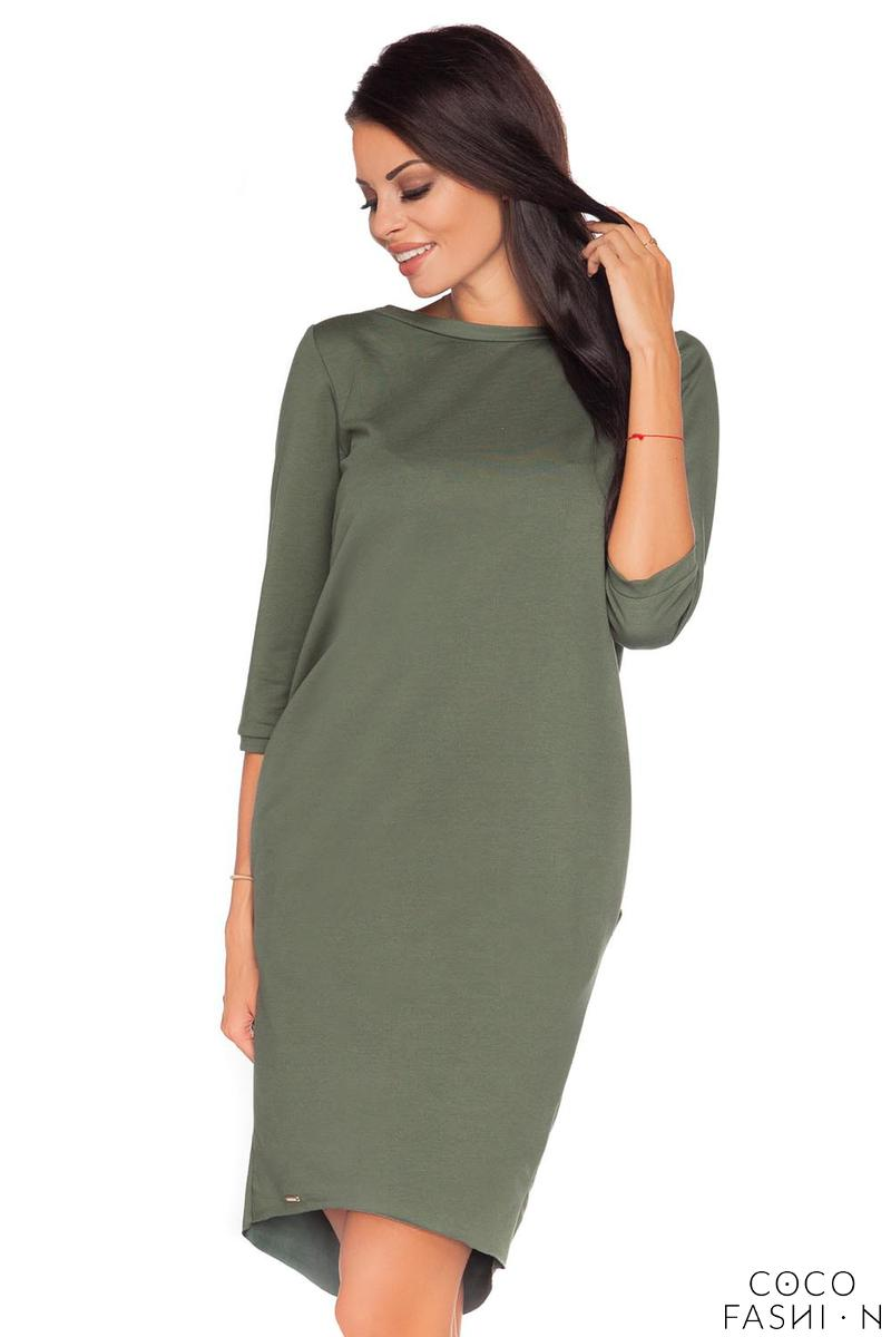 Green Casual Dress with Cut Out Back and Self Tie Bow