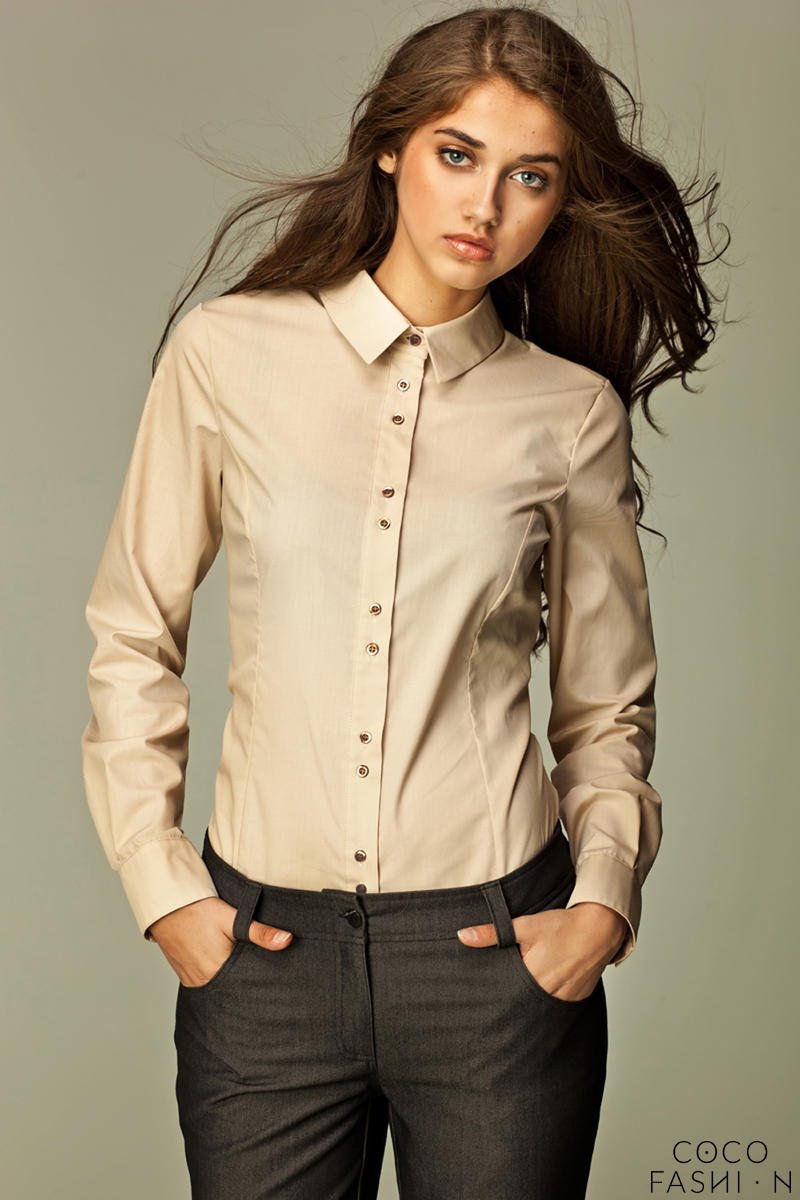 Seam Collared Beige Shirt with Paired-Button Details