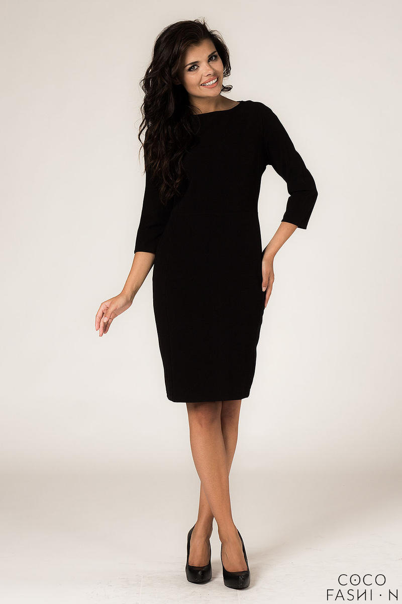 Black Seam Shift Dress with Back Zip Fastening