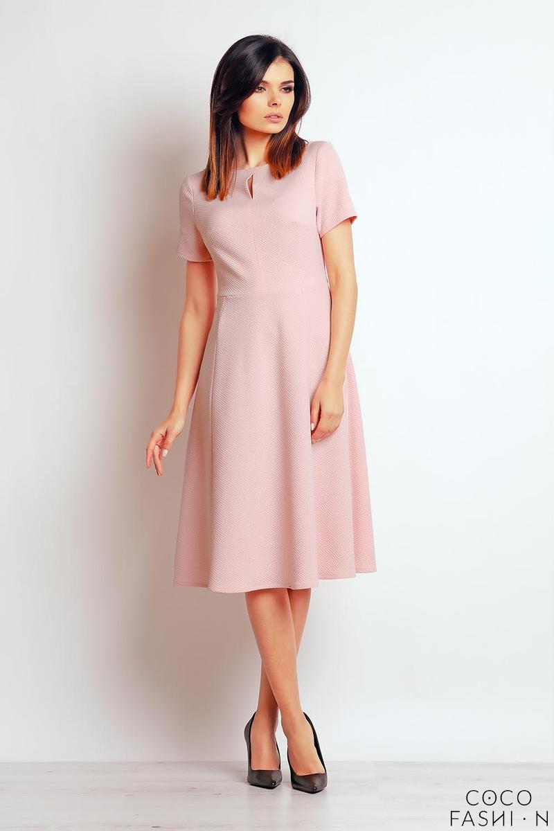 powder-pink-short-sleeves-flared-midi-dress