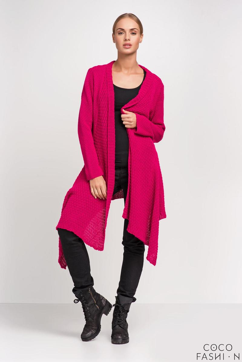Amaranth Long Asymetric Fall Ladies Cardigan
