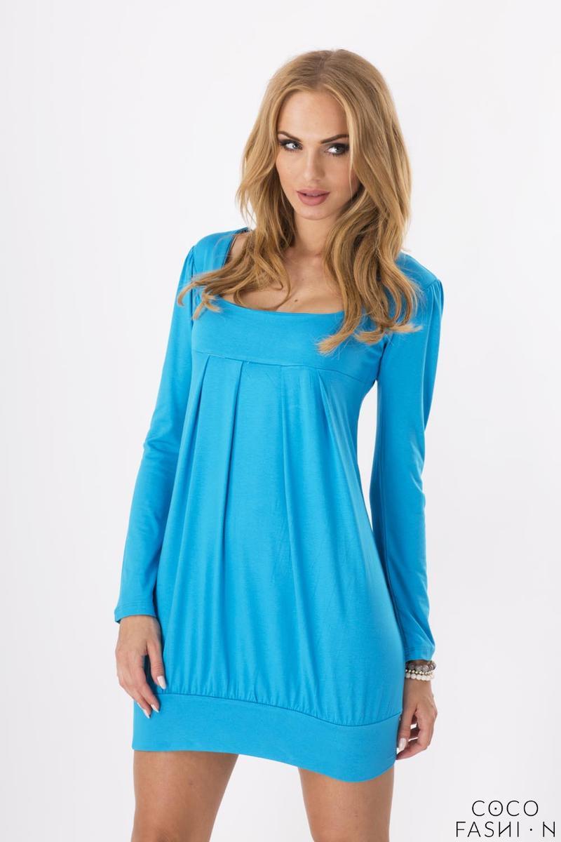 Lazur Blue Long Sleeved Square Neckline Mini Dress