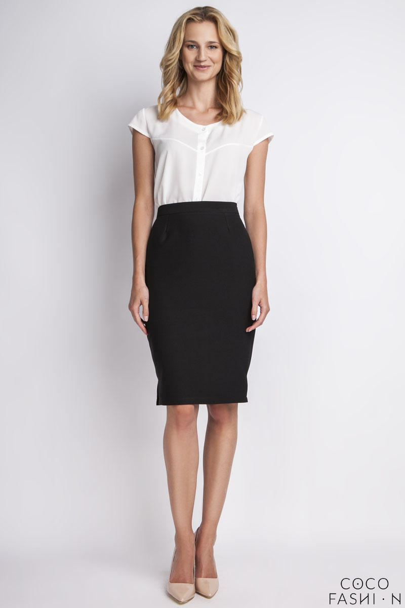 Black High Waist Knee Length Elegant Skirt