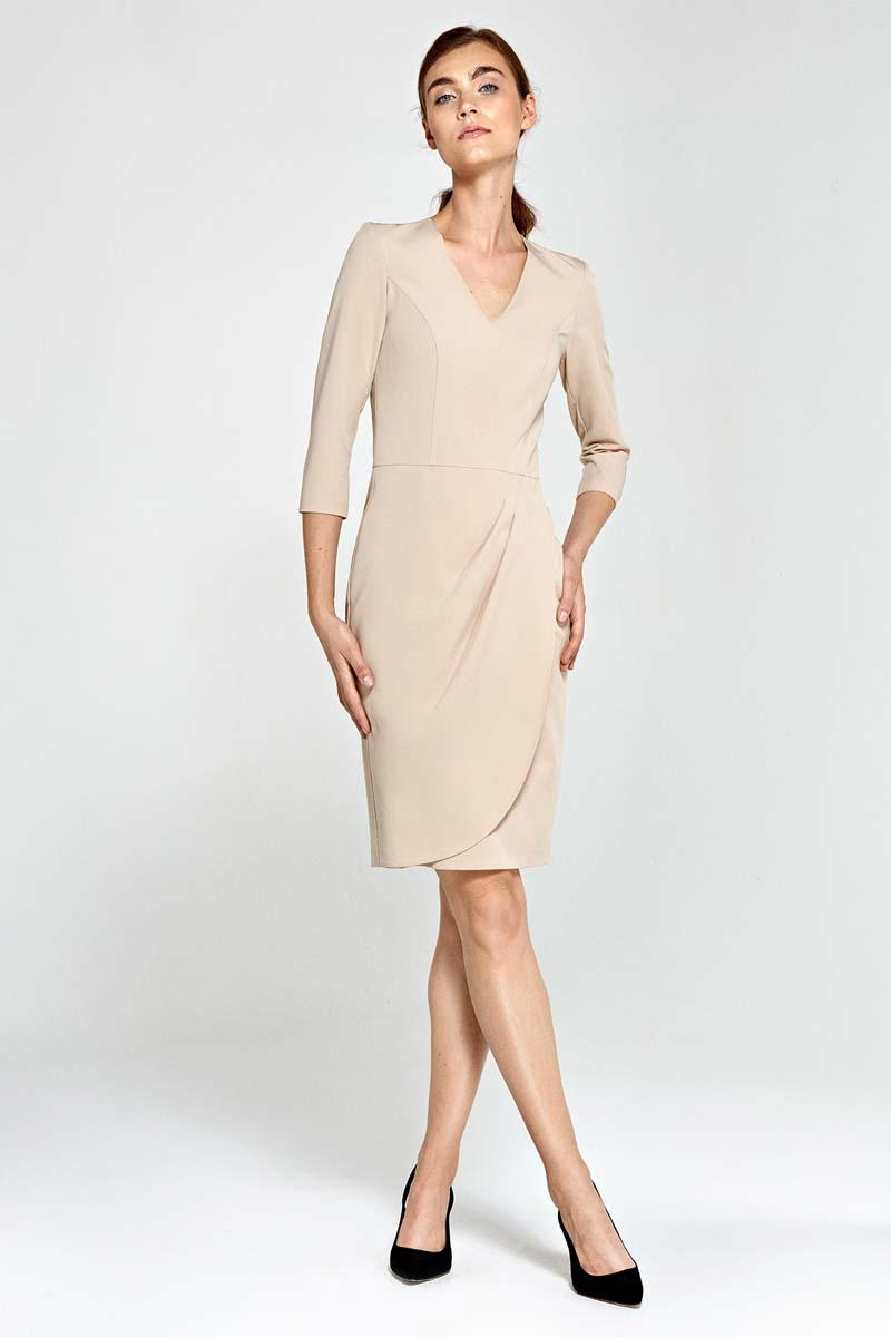 beige-classic-office-style-dress