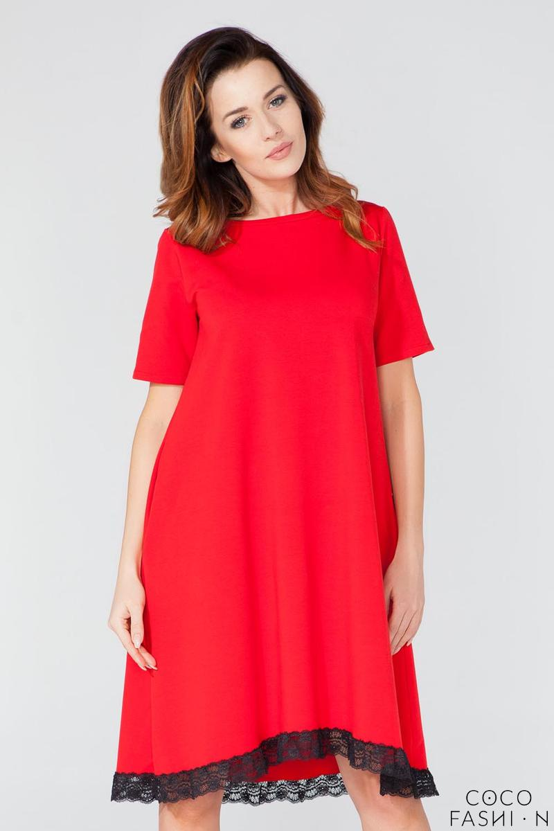 Red Flared Short Sleeves Dress with Lace Edging