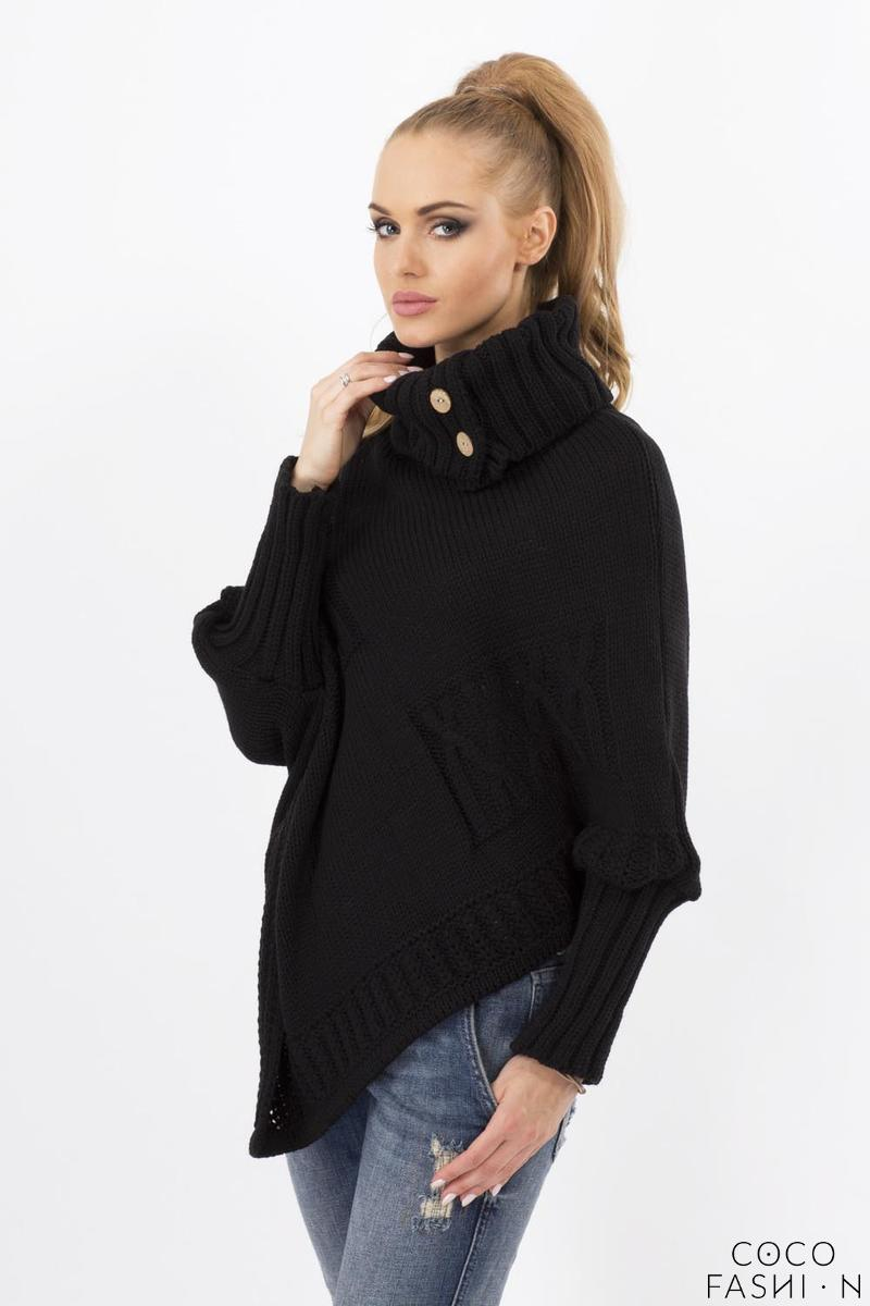 Black Loose Asymetrical Tourtleneck Sweater