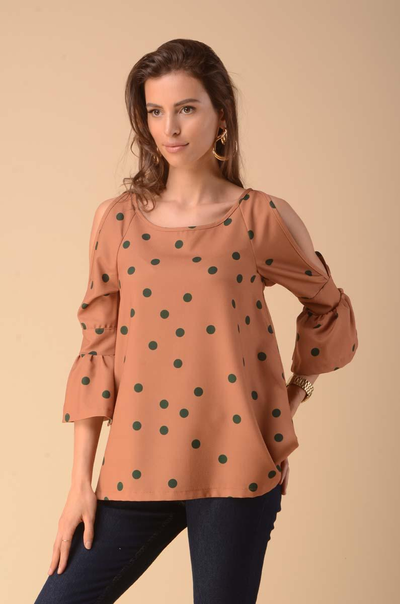 Blouse with a cut on the sleeves - camel