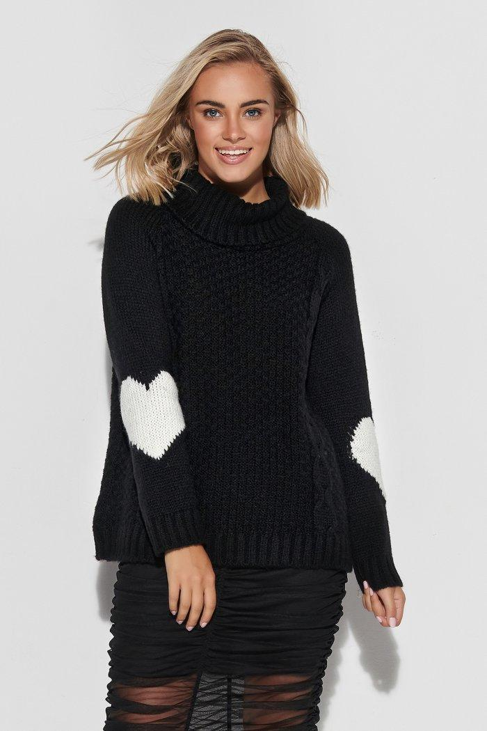 Turtleneck sweater with hearts on the sleeves - black