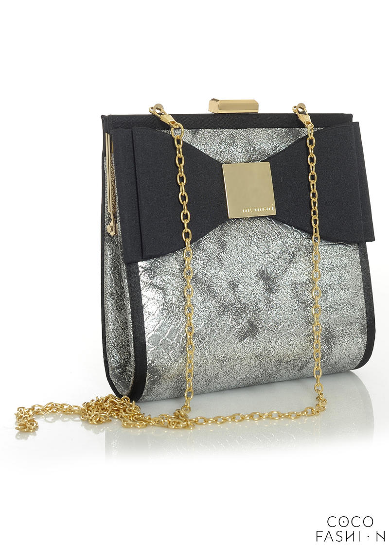 Black&Silver Elegant Evening Clutch Bag with Bow and Chain от cocofashion