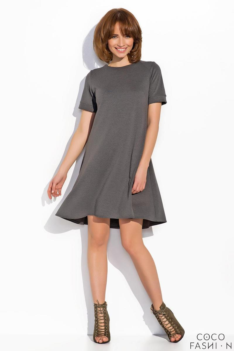 Dark Grey Short Sleeves Mini Swing Dress
