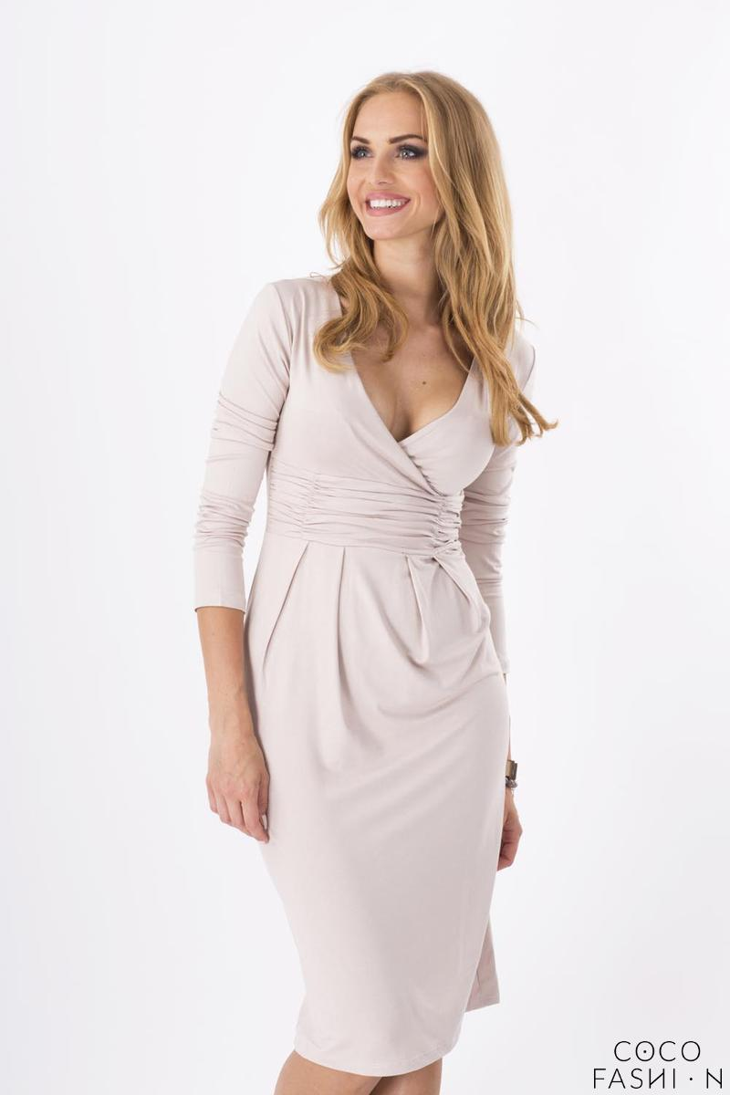 Beige Elegant V- Neck Dress