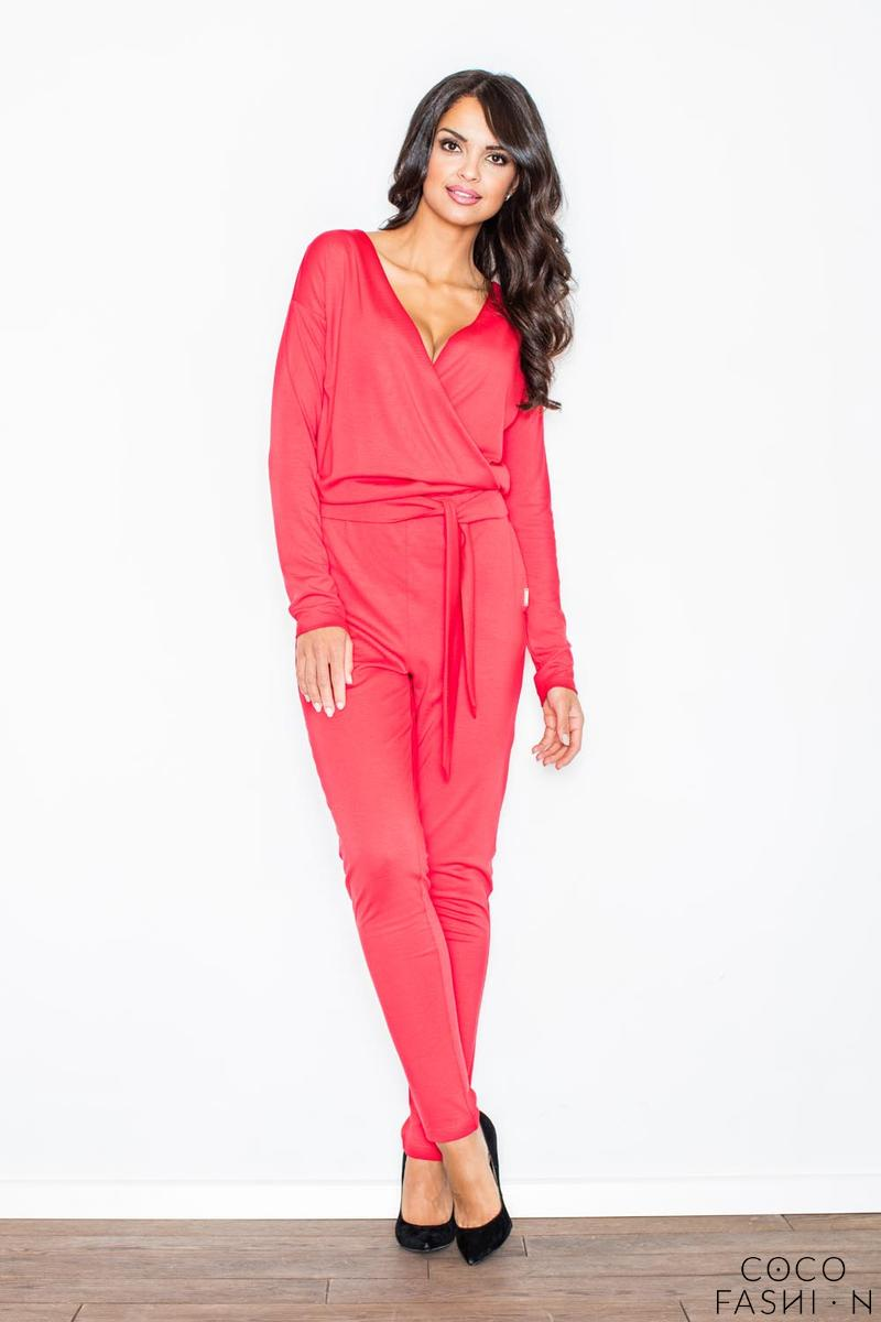 Red Stylish Ladies Belted Jumpsuit