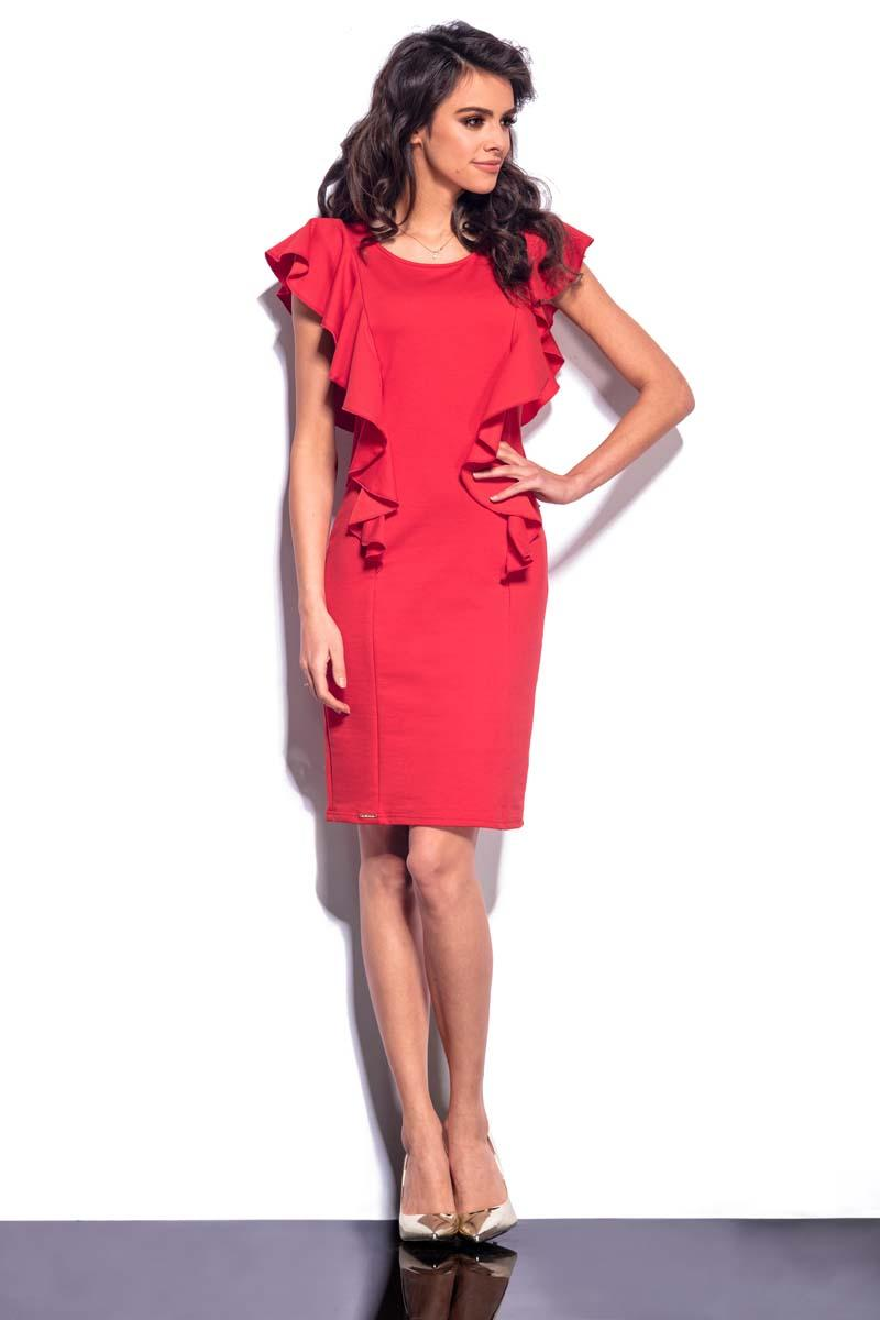 red-frilled-midi-dress