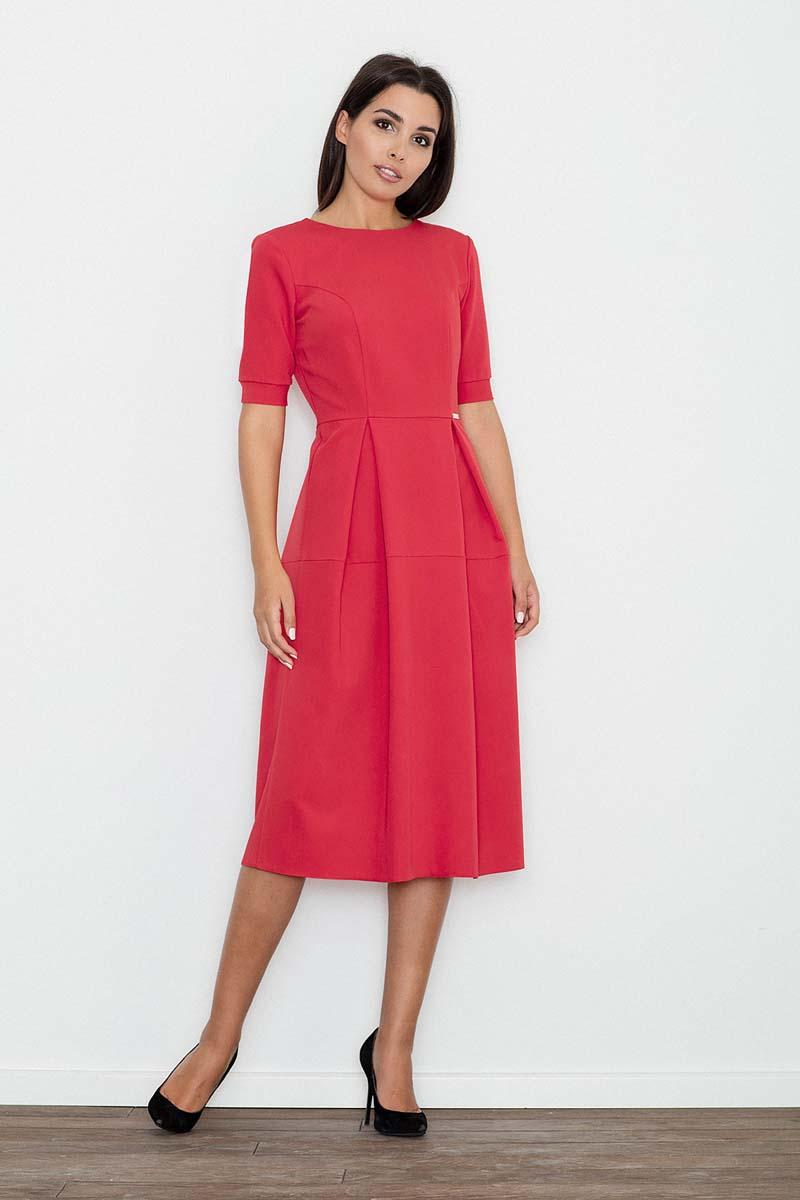 Red Elegant Short Sleeves Midi Dress
