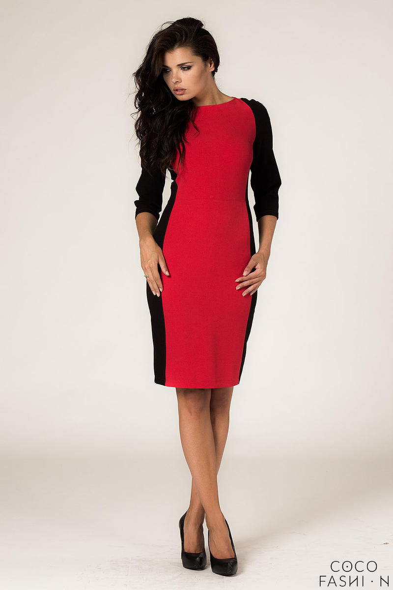 Red-Black Seam Shift Dress with Back Zip Fastening