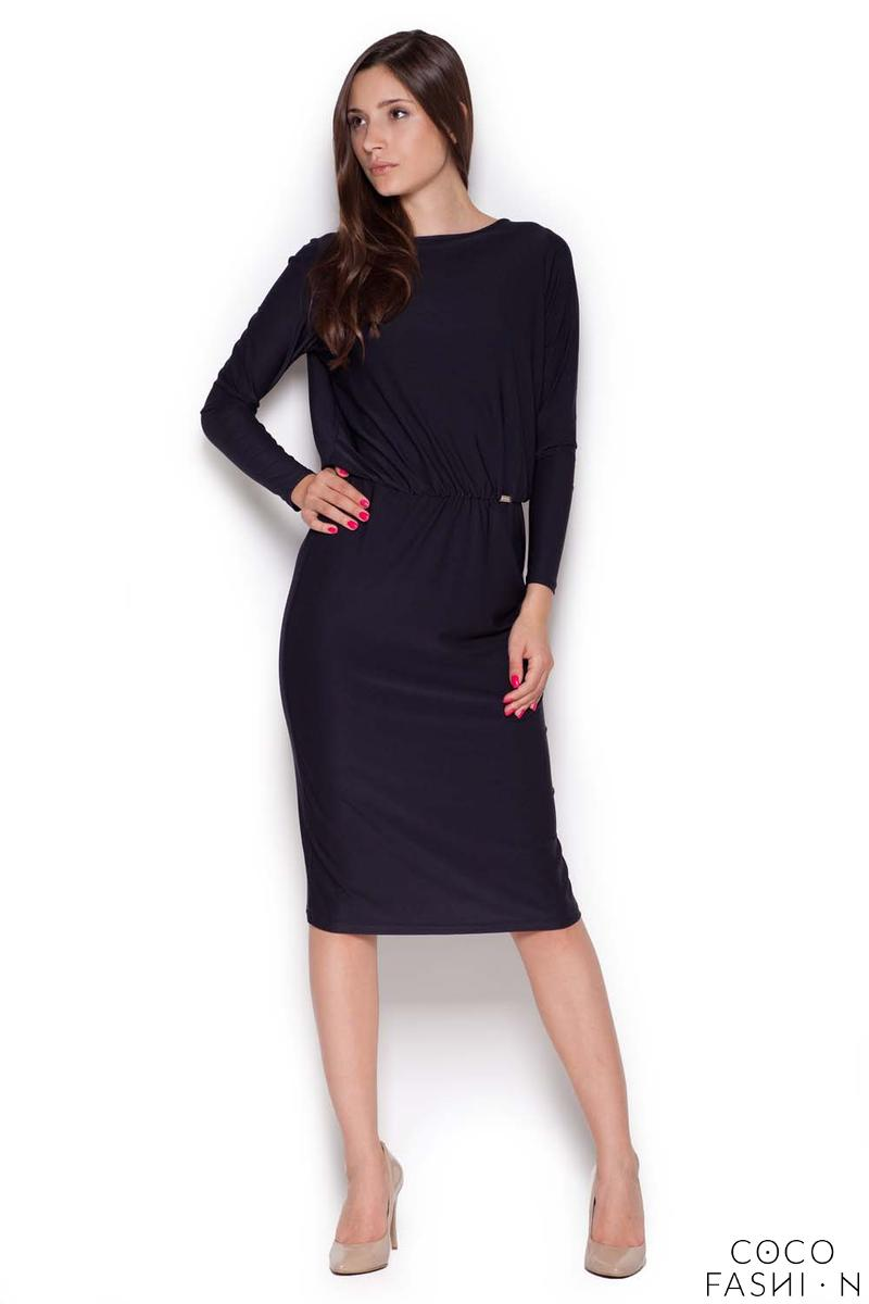 Black Back Slit Knee Length Shift Dress
