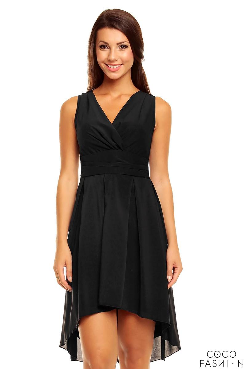 Black Dipped Back Wrap Front Coctail Dress
