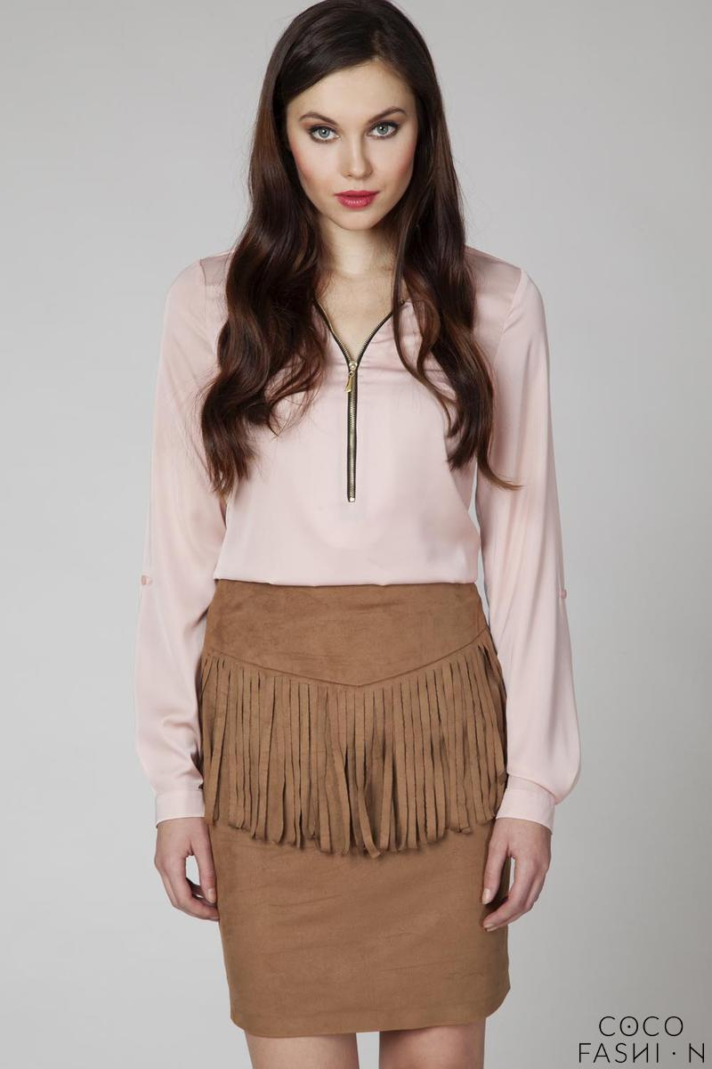 camel-pencli-cut-mini-skirt-with-fringes