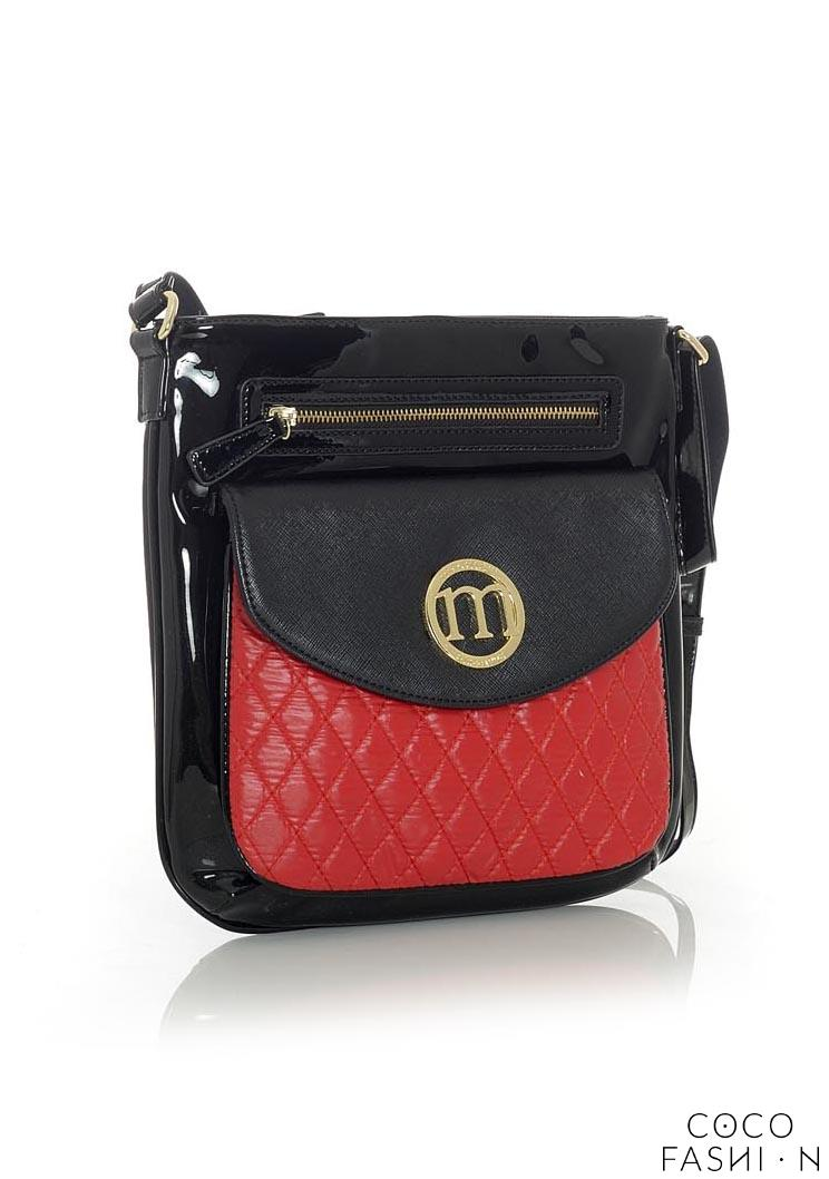 Black&Red Quilted&Patent Leather Long Strap Bag