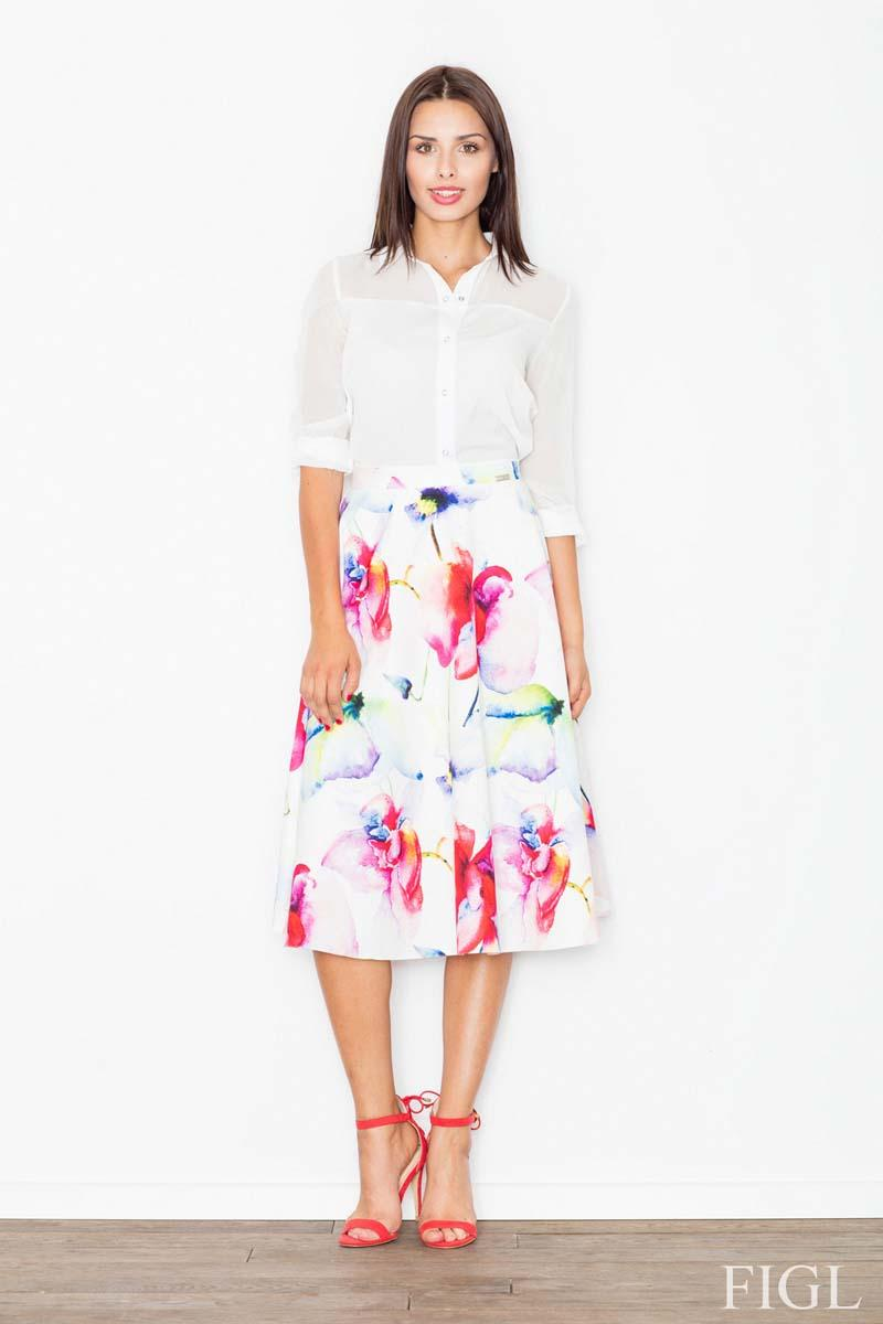 White&Red Midi Flared Skirt