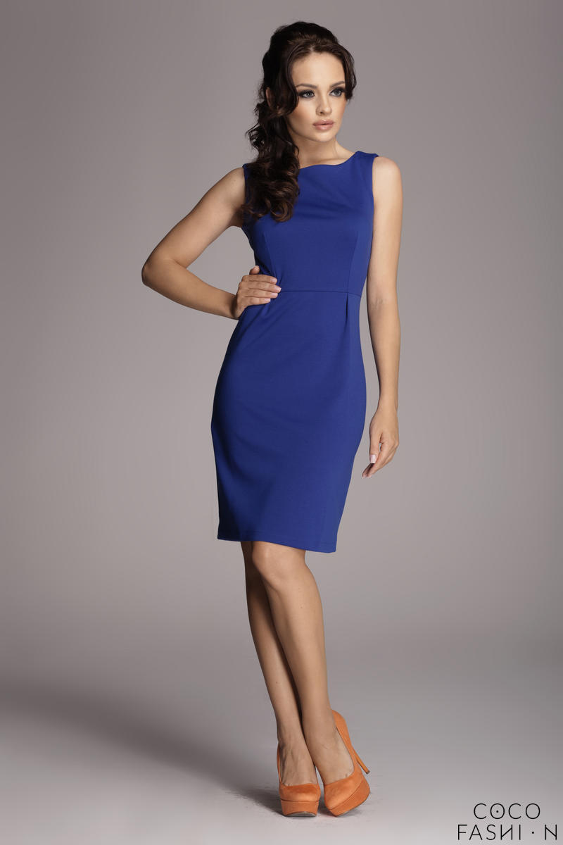 Cornflower Blue Bateau Neck Seam Shift Slit Dress