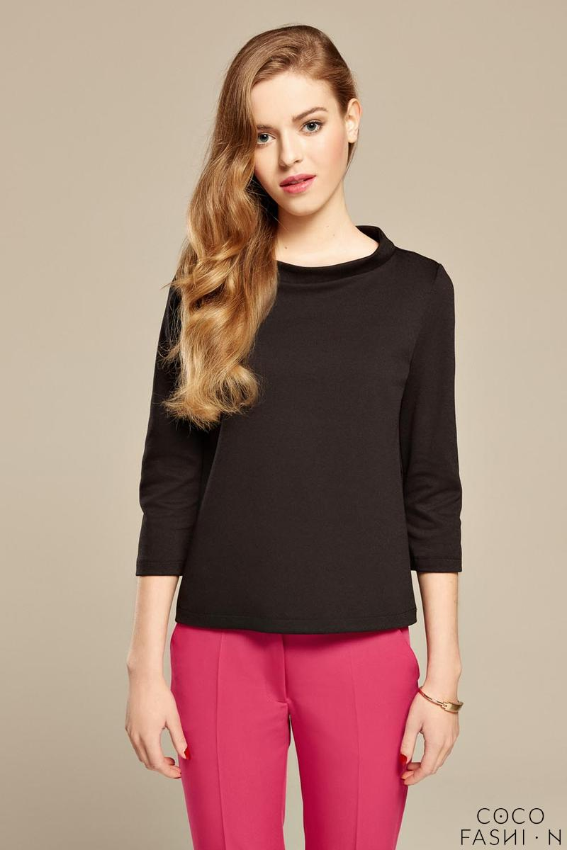 Black 3/4 Sleeves 60's Style Blouse