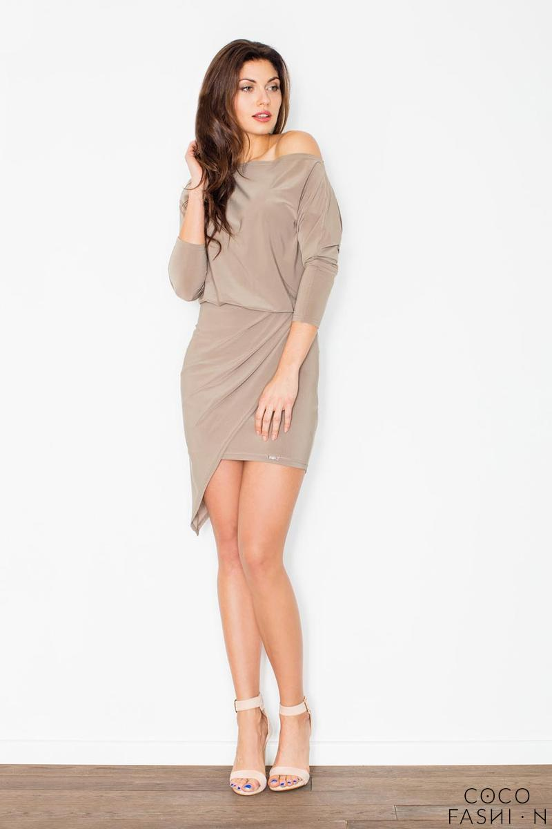 Beige Asymetrical Mini Boat Neckline Dress