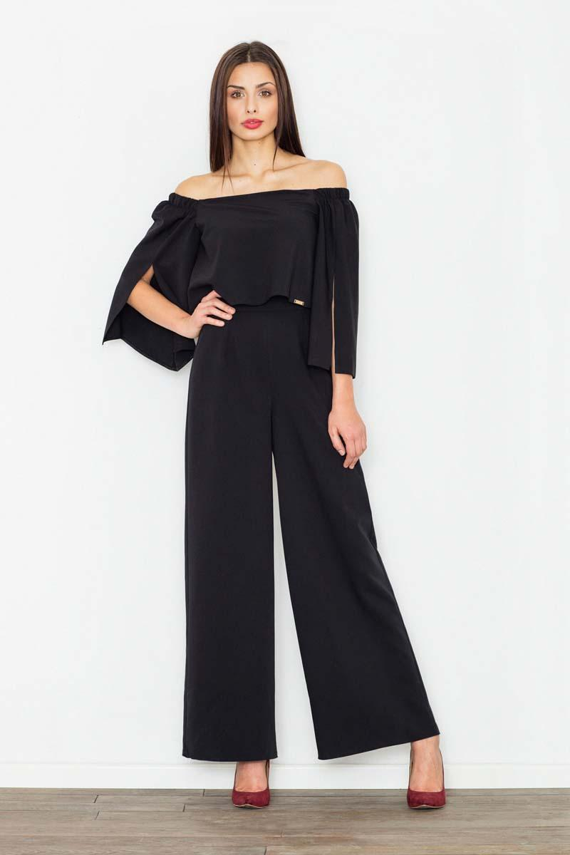 Black Elegant Off-Shoulders Ladies Jumpsuit
