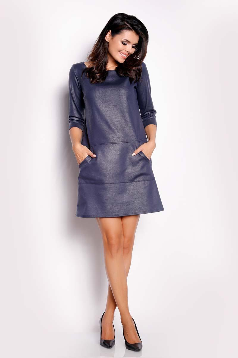 Dark Blue Eco-Leather Flared Mini Dress