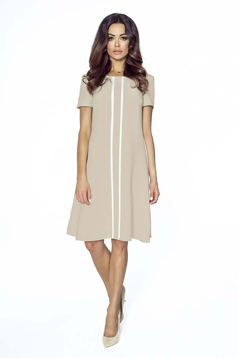 Beige Flared Dress with Contrasting Stripes