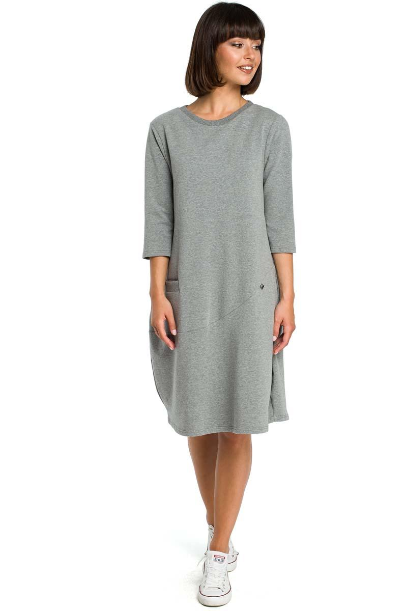 Grey Casual Style Dress with Pockets